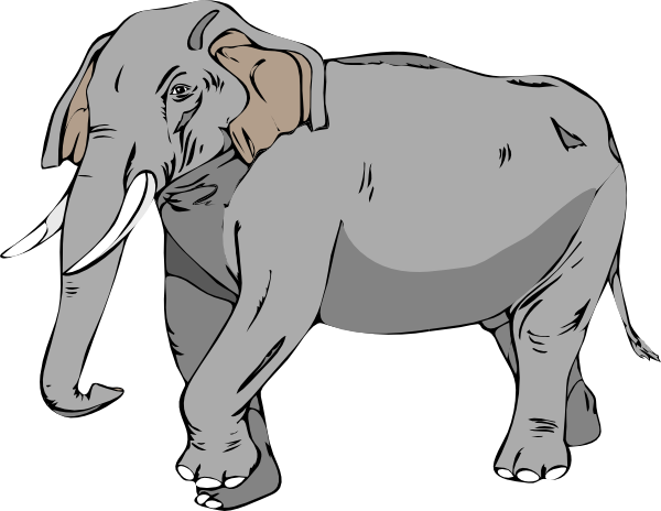 Black And White Elephant clip art - vector clip art online ...
