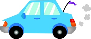 Driving Clipart Image - Cartoon Compact Car