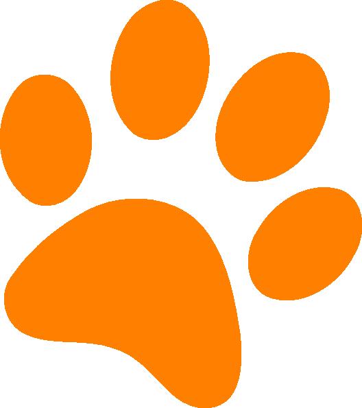 Orange Paw Print clip art - vector clip art online, royalty free ...