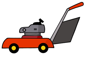 Lawn Mower Clipart Image - A red cartoon lawn mower for yard work