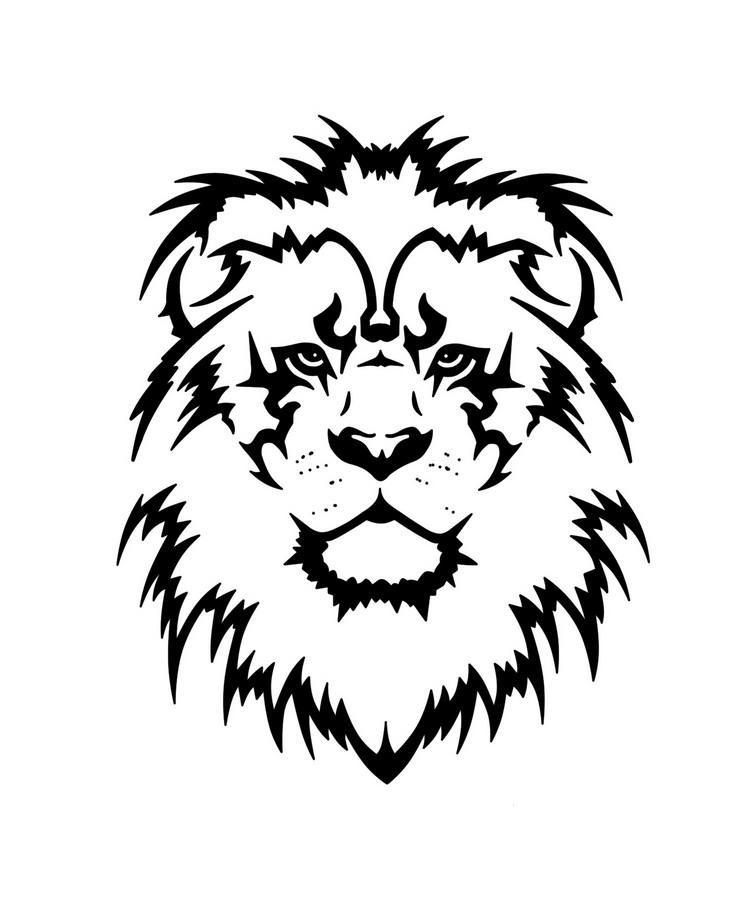 Lion head stencil clipart best