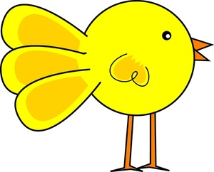 Bird Clipart Image - Funny, cute little yellow cartoon chick ...