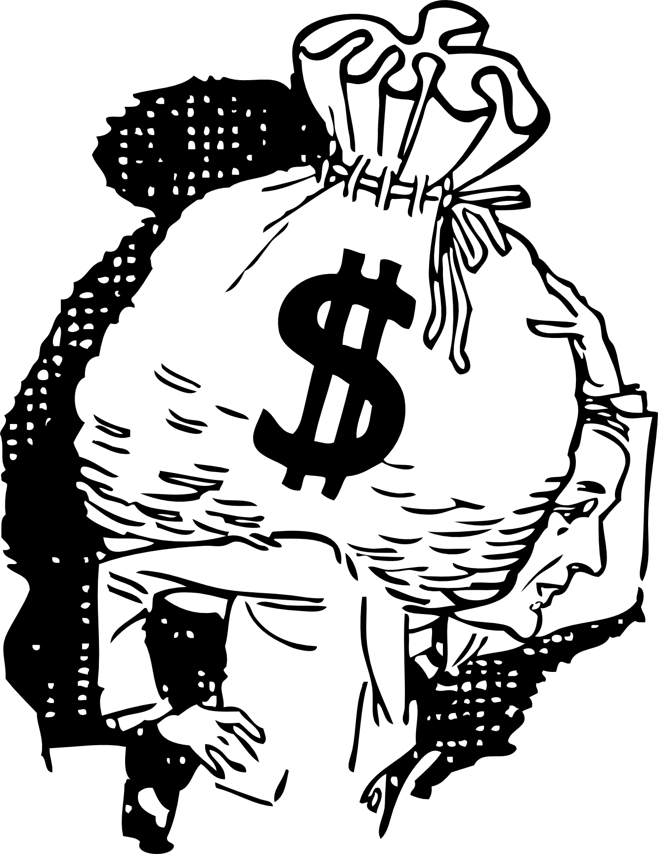 Line Art Money : Money bag tattoo clipart best