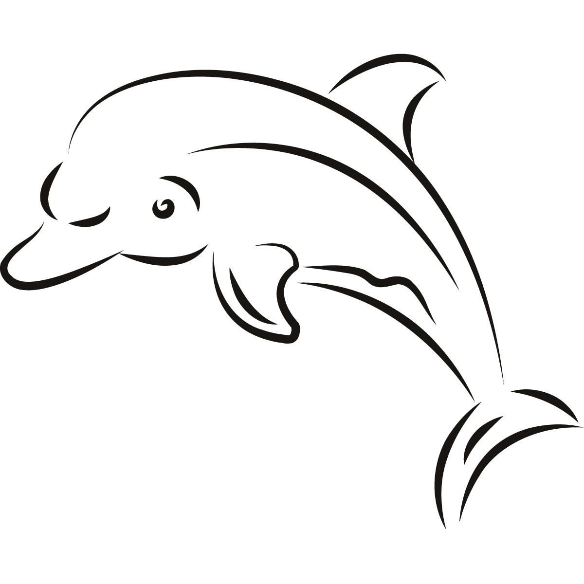 Dolphin outline wall art sticker wall decal clipart best for Decor outline
