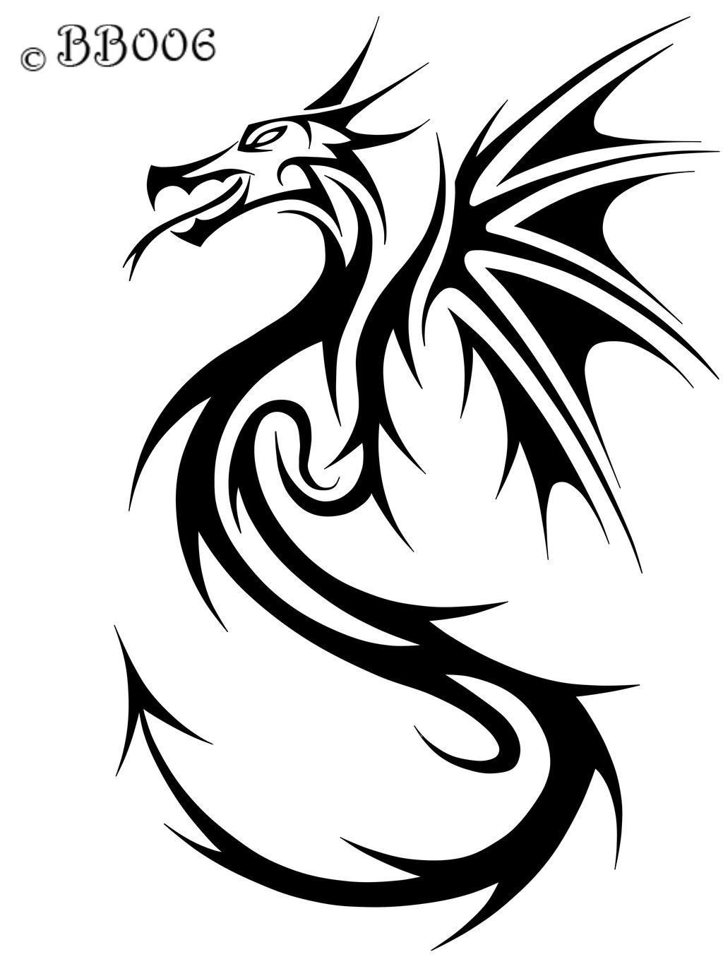 Tribal Tattoo Line Drawing : Dragon line drawings clipart best