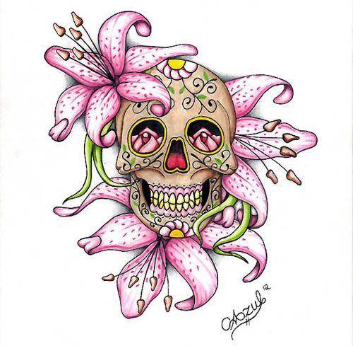 Beautiful Sugar Skulls Drawings Lily Flower Tattoo Ide...