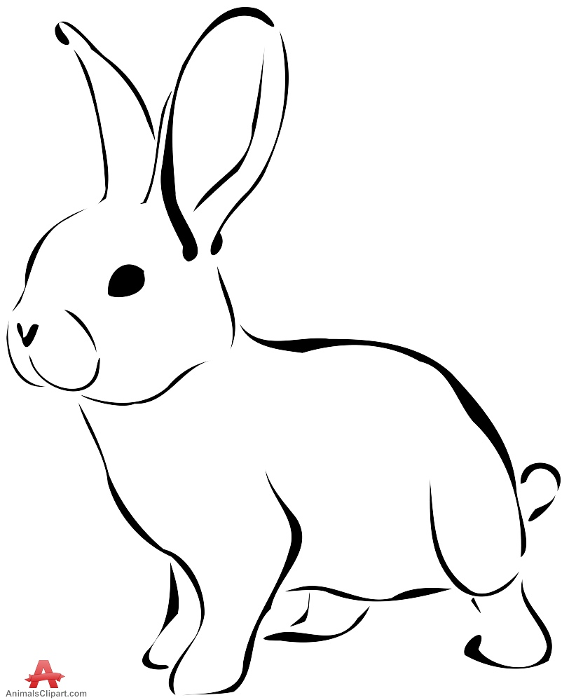 Bunny black and white free bunny clipart