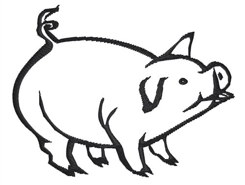 Animals Embroidery Design Pig Outline From King Graphics