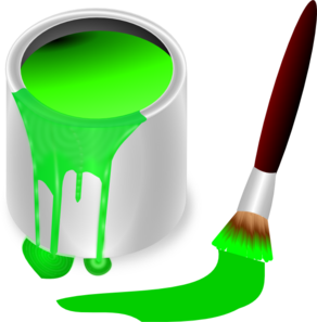 Green Paint Brush And Can clip art - vector clip art online ...