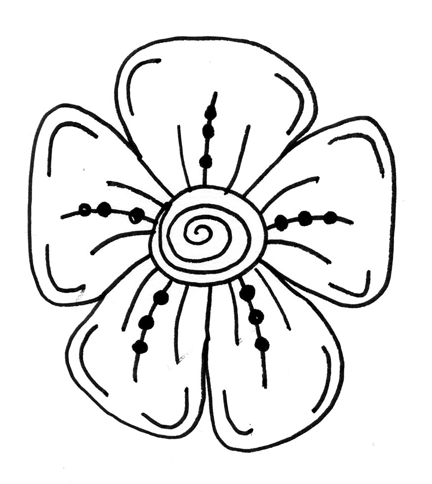 Easy Line Drawing Of Flowers : How to draw a simple flower for children clipart best