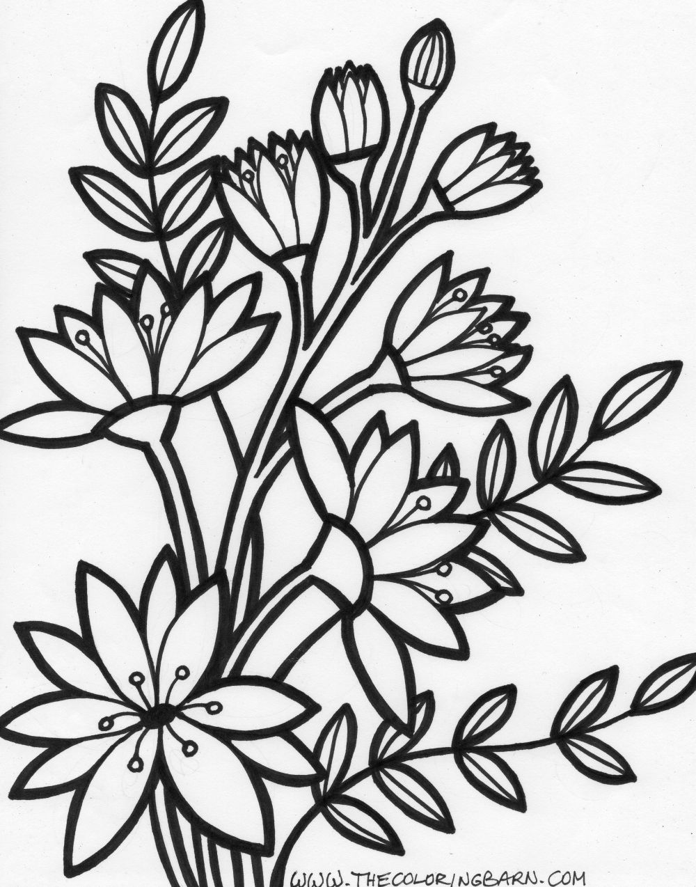 Flower Bouquet Free Printable Coloring Pages Flower Best