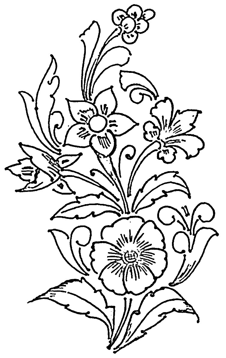 flower design pattern black and white clipart best