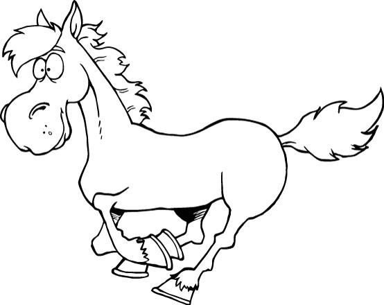 Printable worksheet of smiley cartoon horse for kids coloring point