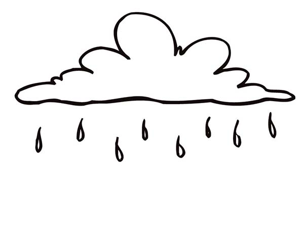 Cloud With Raindrops Coloring Page Sketch Coloring Page