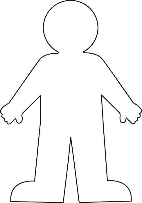 Human body outline for kids clipart best for Body outline coloring page