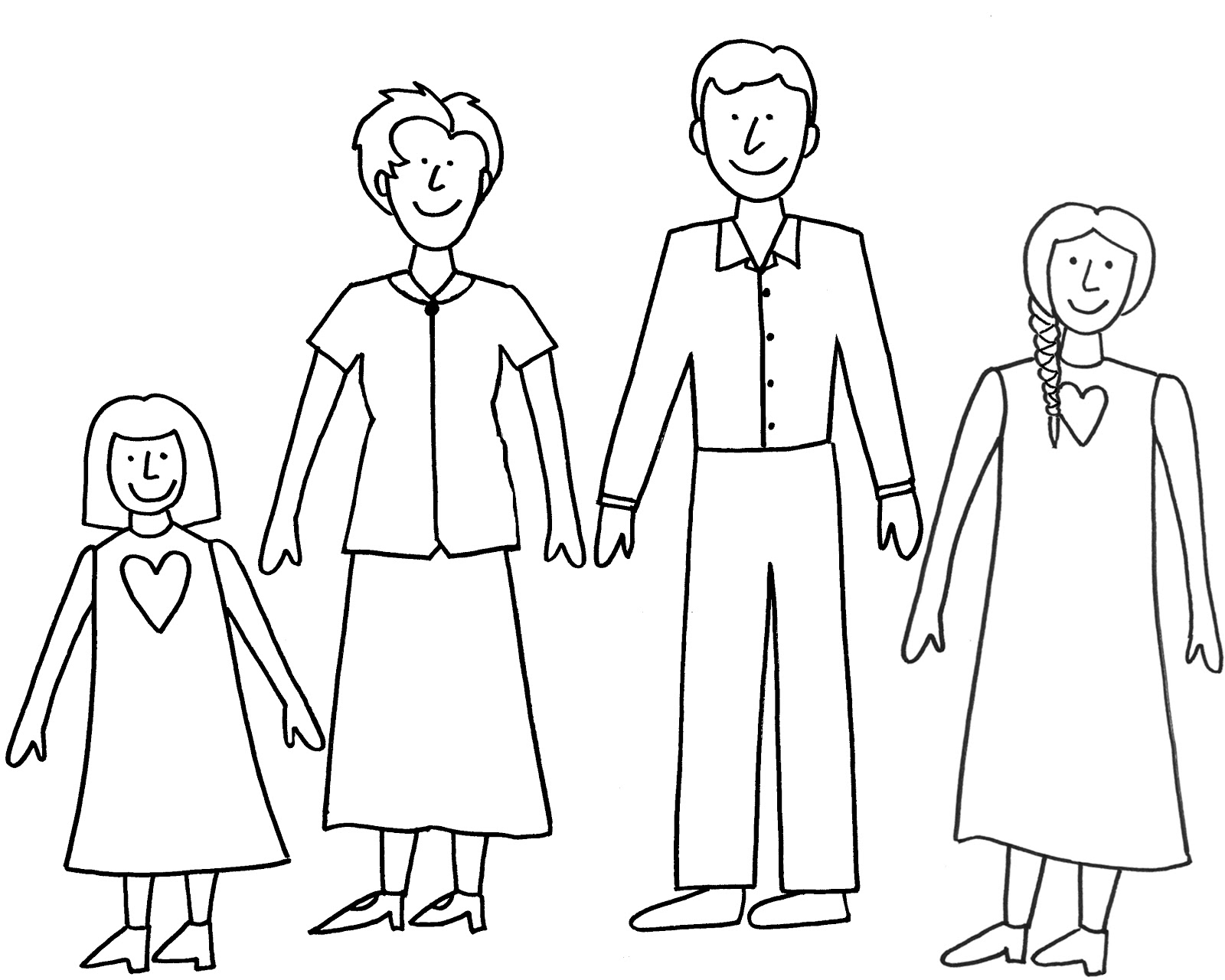 Easy To Draw Family Sketch Coloring Page