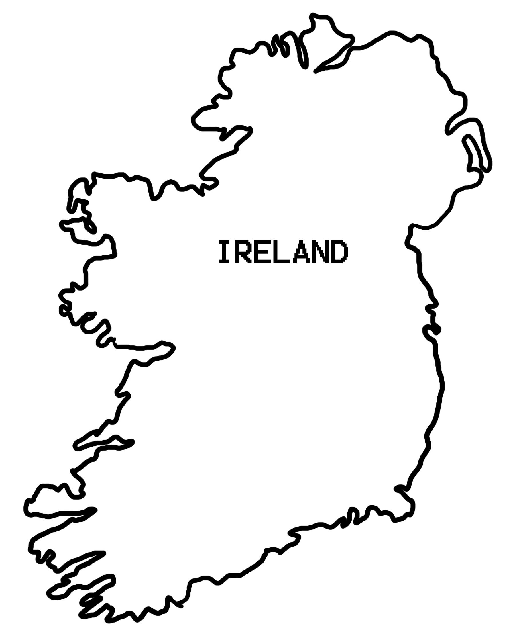 Colouring Pages Ireland : Simple map of ireland colouring pages