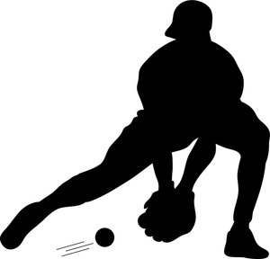 Sports Clipart Image - Silhouette of a Baseball Player Catching a ...