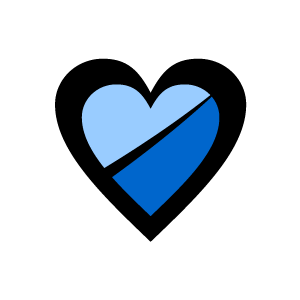 Black and blue hearts