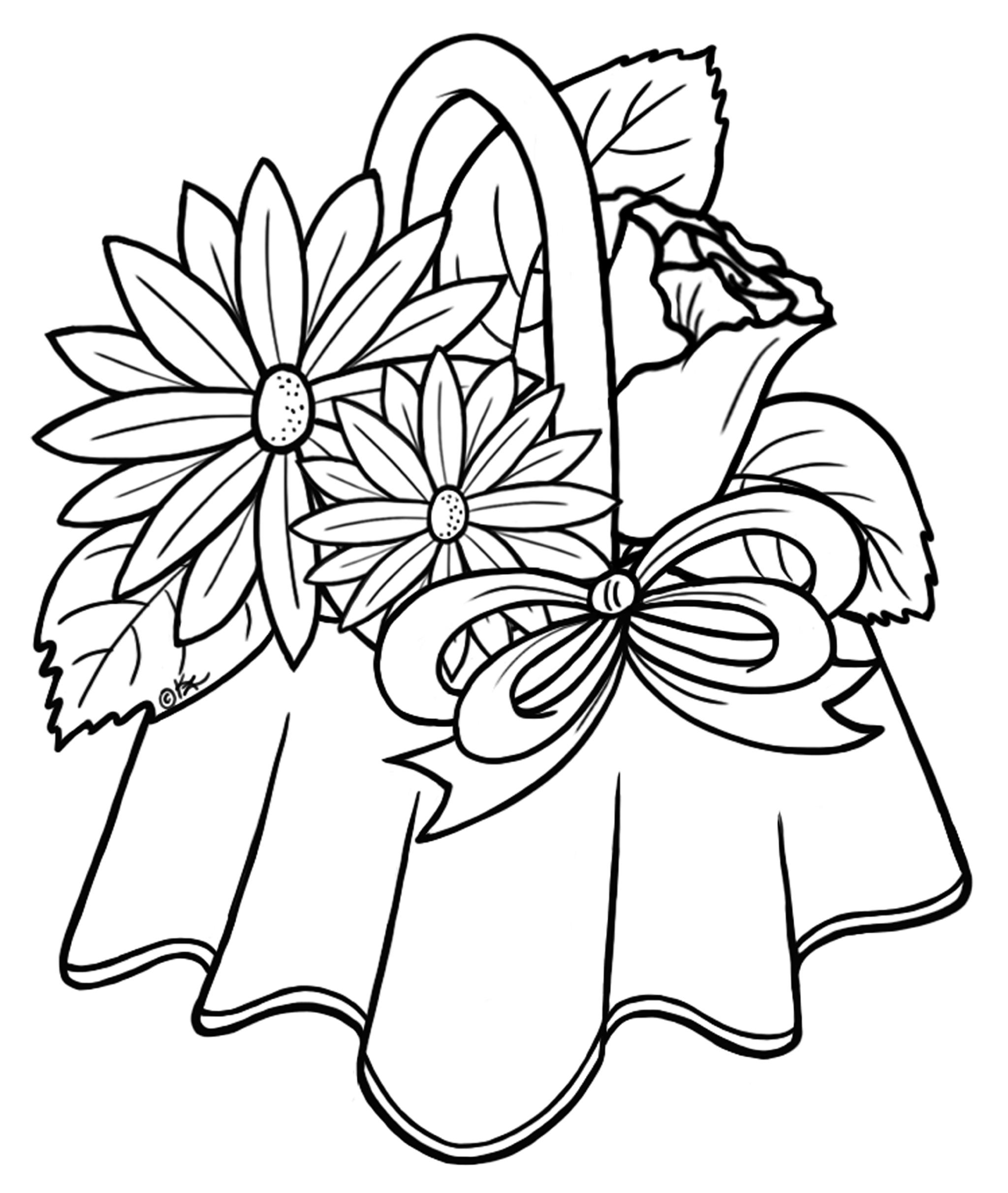 Simple Flower Basket Drawing : Flower bouquet drawings clipart best