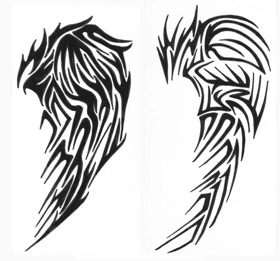 Tribal Wing Line Art Clipart Best