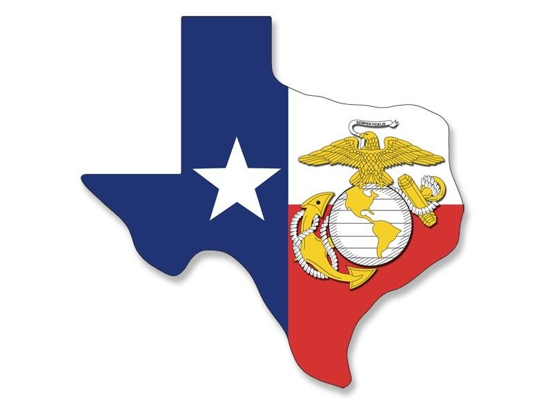 4x4 inch Texas Shaped Flag Marines GOLD EAGLE Logo Sticker - decal ...
