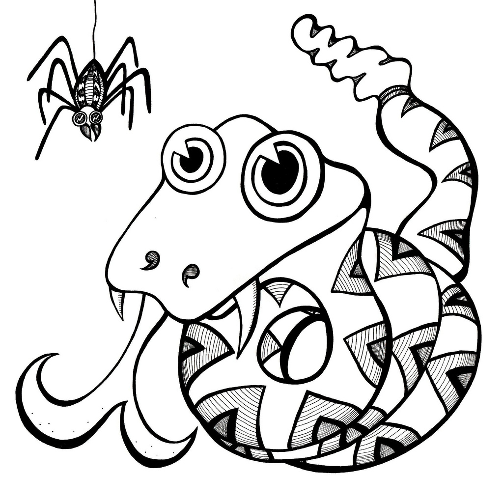 Line Drawings Of Cartoon Animals : Snake line drawing clipart best
