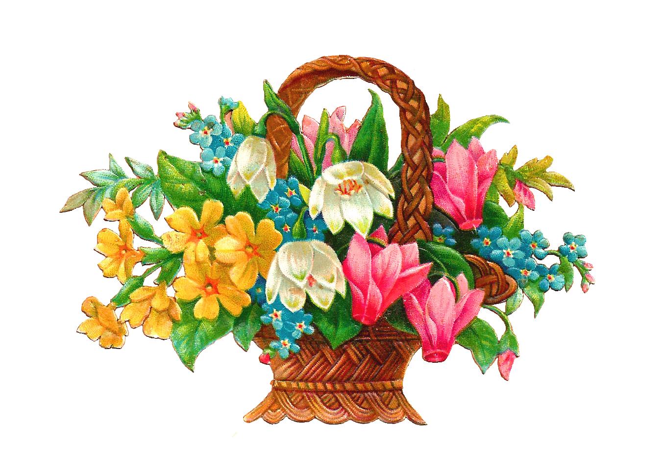 Art Basket Images : Antique images free flower basket clip art wicket