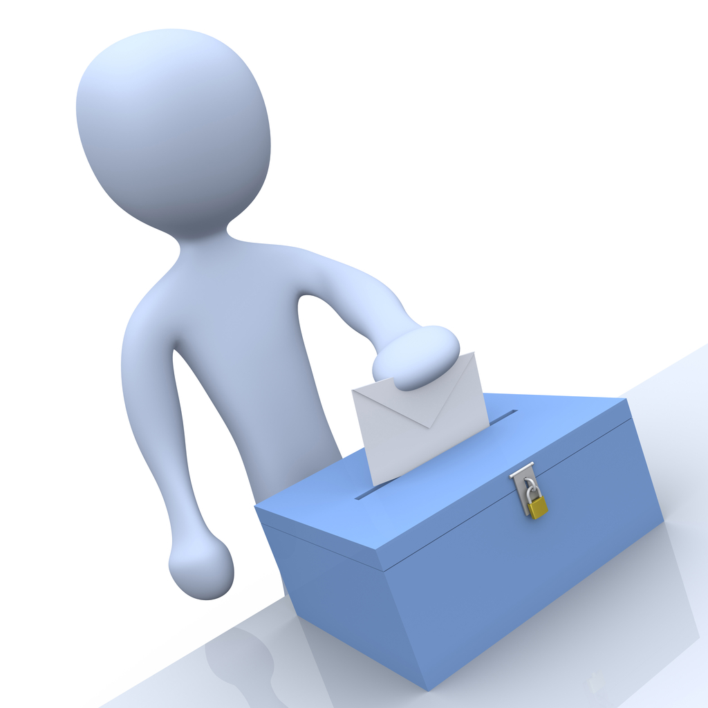 Women Vote Clip Art Voting envelope in a ballot box during a presidential election clipart
