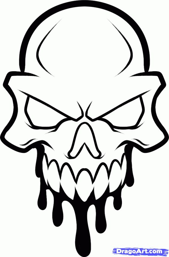 cool skull head to draw clipart best