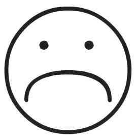 Sad Emoticon Black Whi...