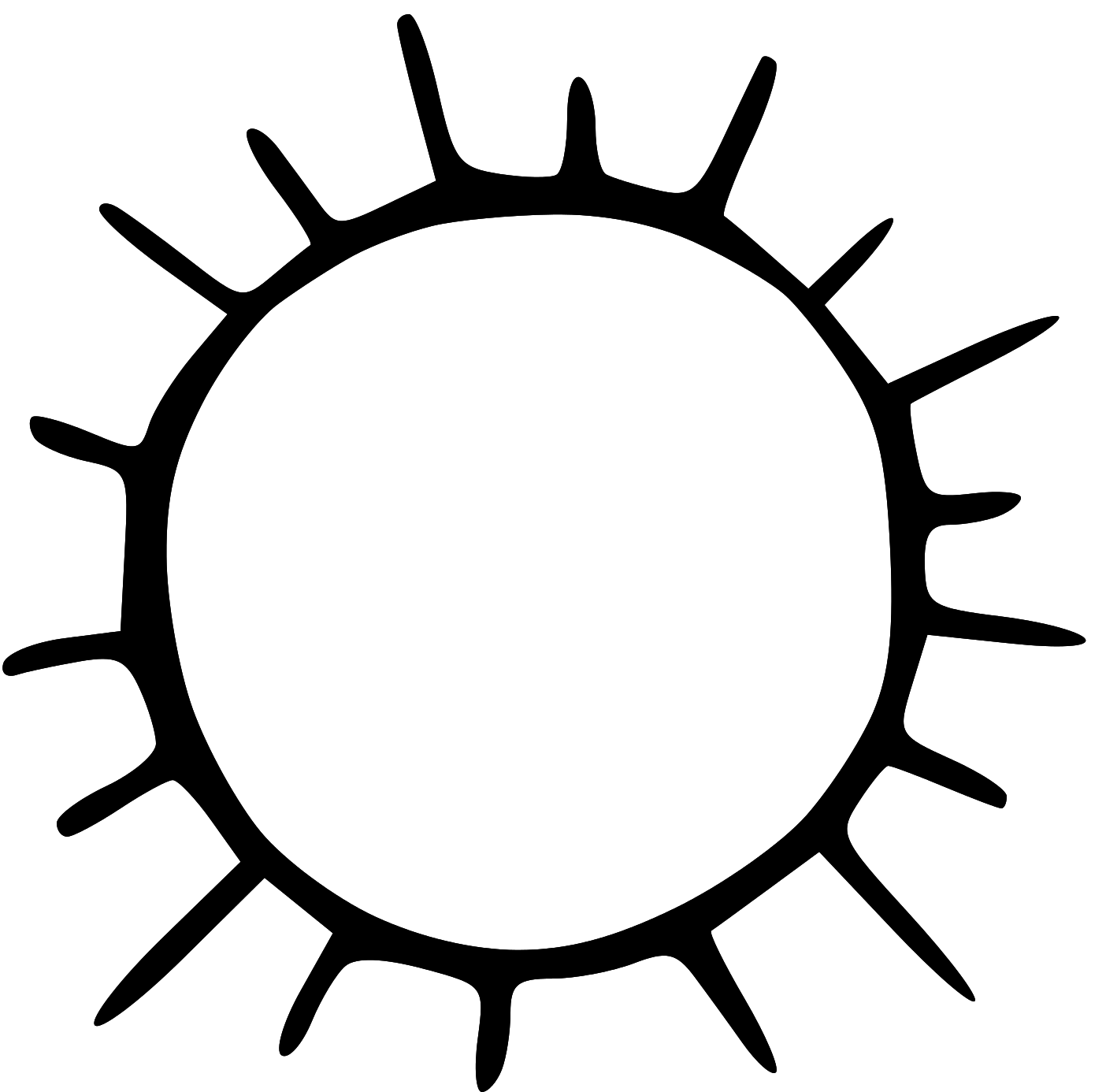 Black and white clipart sun