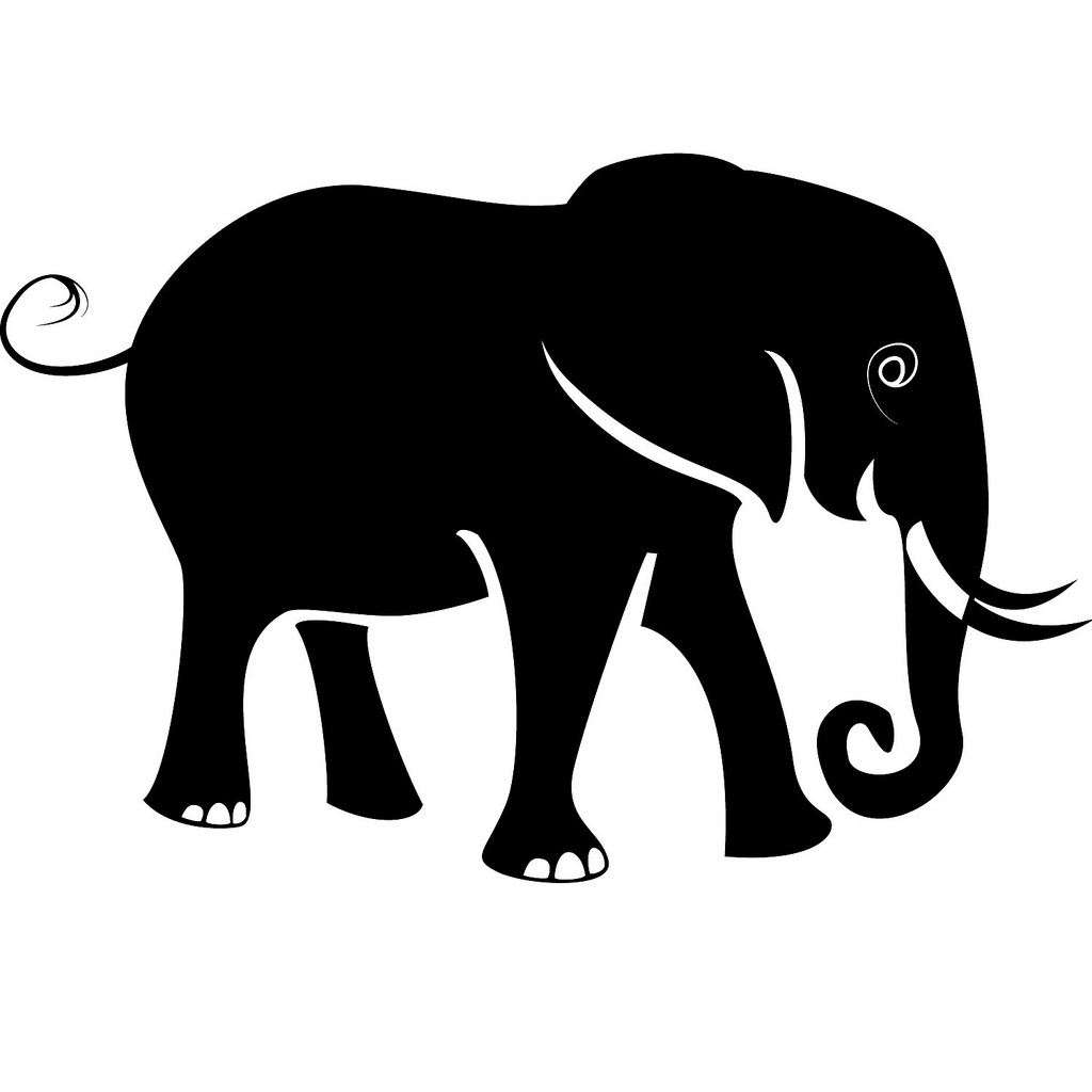 Elephant Stencil Trunk Up Elephant Vector - Clip...