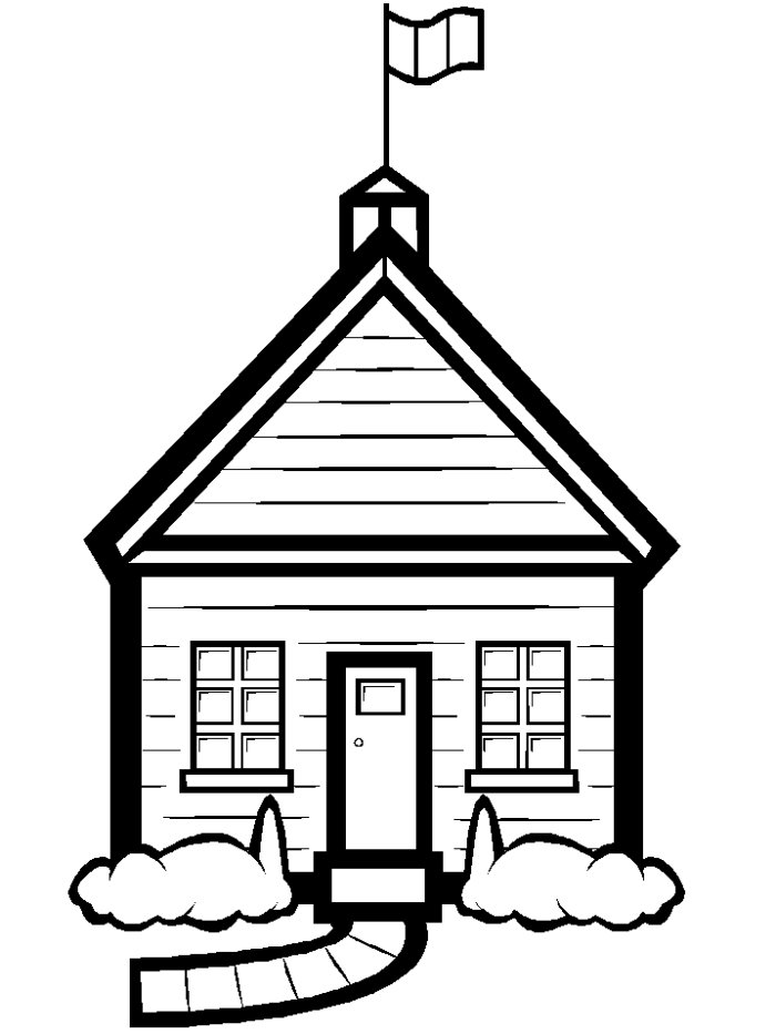 free black and white school house clipart - photo #27