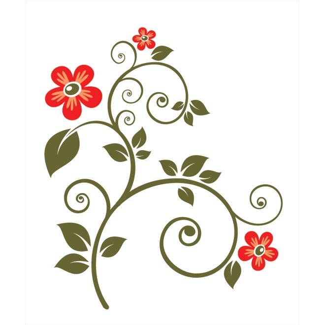 Red Flower Line Drawing : Floral vector graphic clipart best