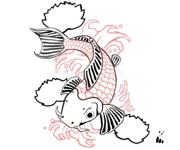 Koi fish drawing clipart best for Coy fish drawing