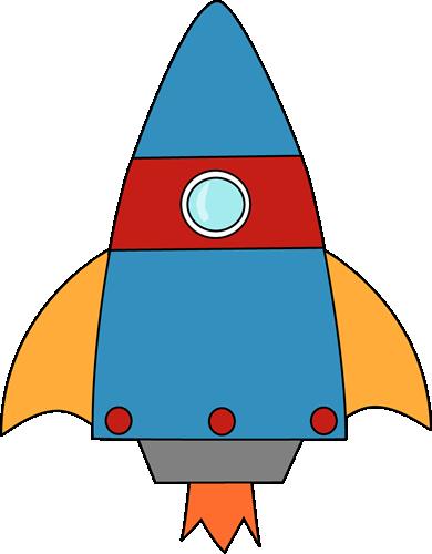 Blue rocket cartoon