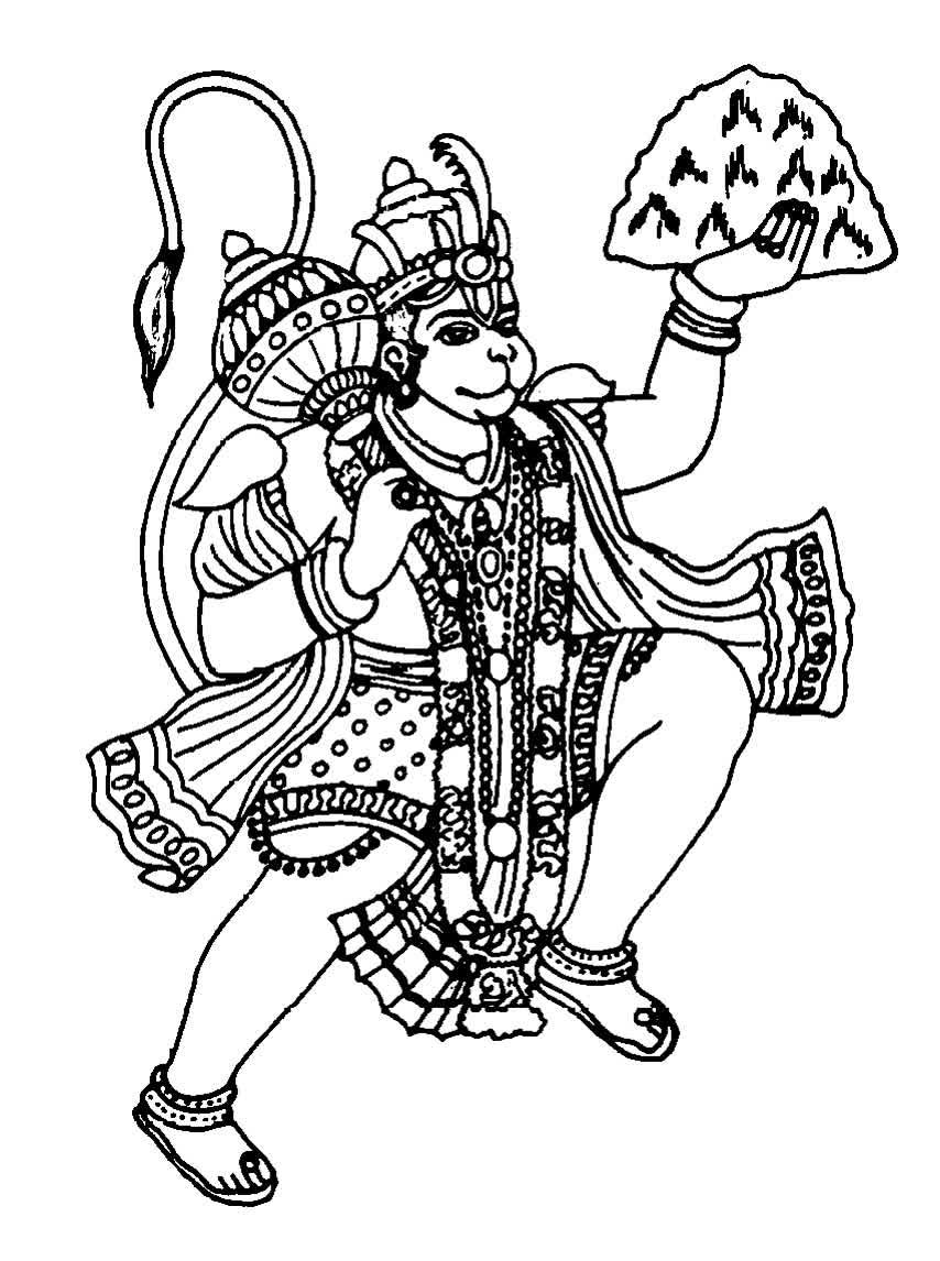 Line Art Hindu Gods : Hanuman ji black and white clipart best