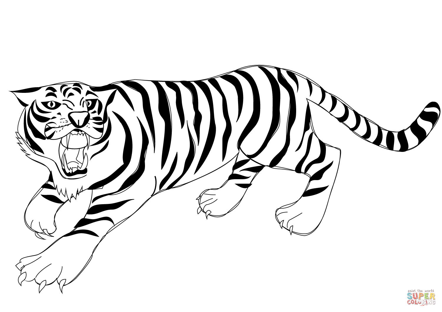 Advanced Tiger Coloring Pages : Tiger outlinecoloring page clipart best