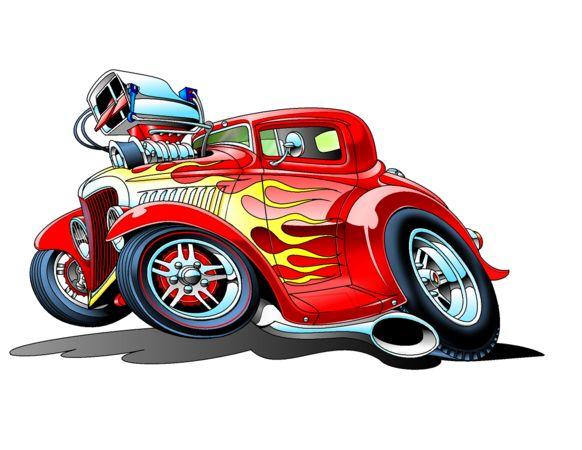 Old Cartoon With Race Cars