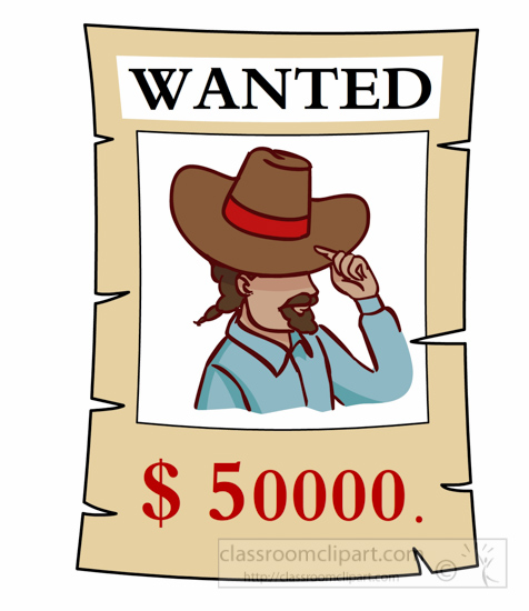 Cowboys : wanted-poster-with-money-reward-clipart : Classroom Clipart