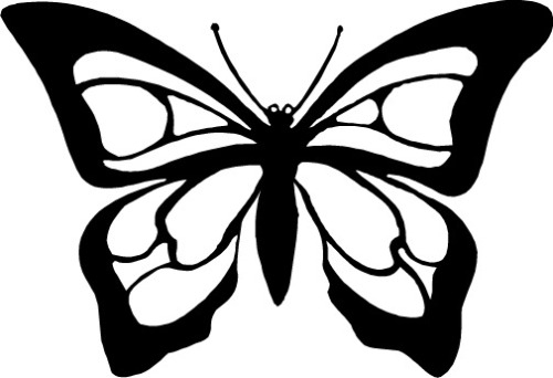 3 butterfly clipart black and white