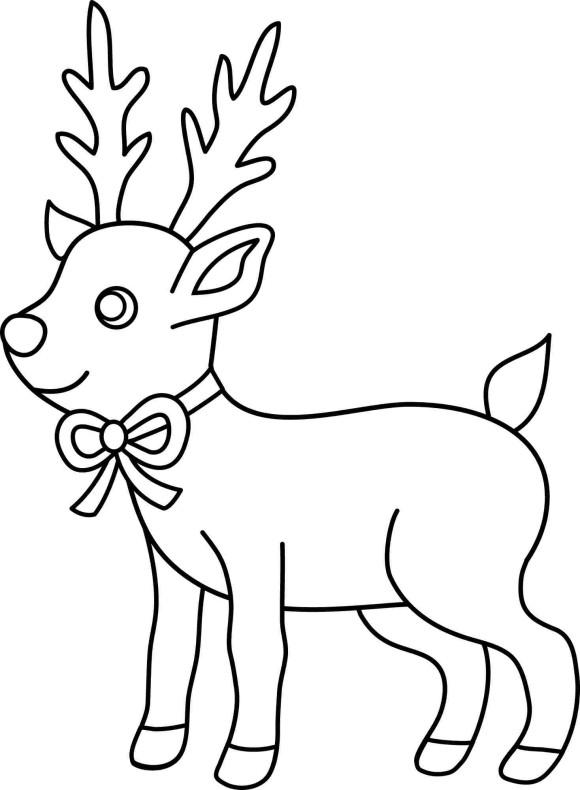 Deer Of Christmas Coloring Pages For Kids - Christmas Coloring ...