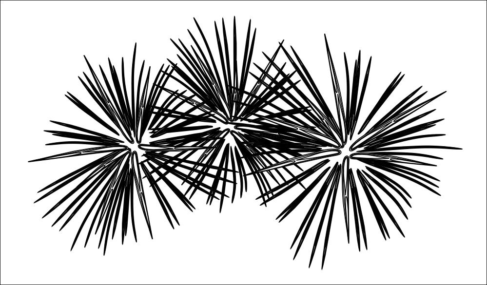 Clip Art: fireworks black white line art SVG