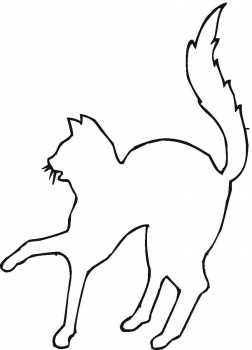 Scared Cat Outline Coloring Page