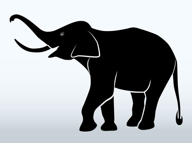 Elephant Stencil Trunk Up Elephant Stencil - Cli...