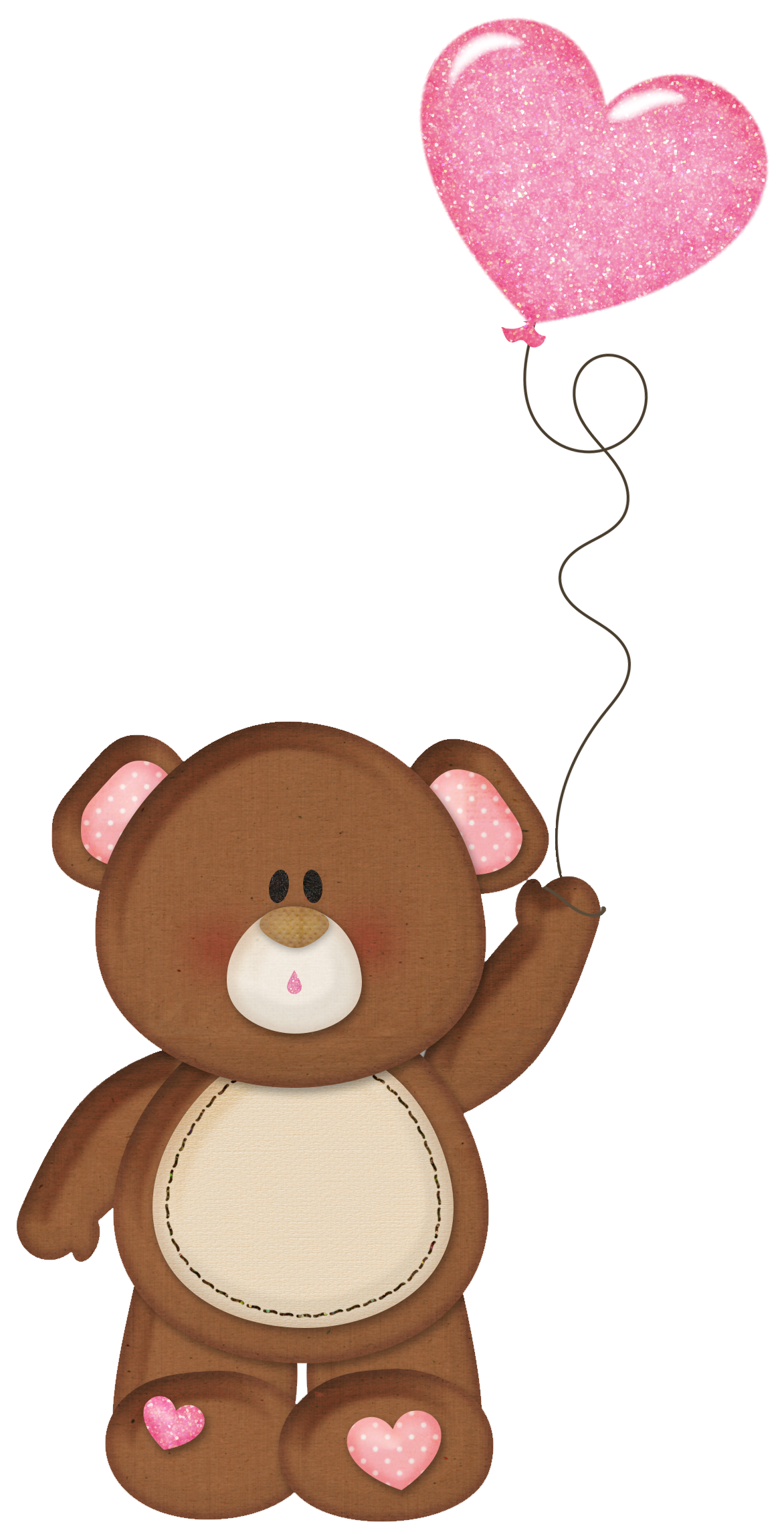 Brown Teddy with Pink Heart Balloon PNG Clipart - ClipArt ...