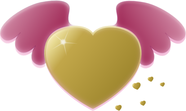 Gold Heart With Pink Wings Clip Art Free Vector Clipart