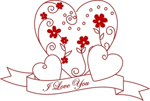 Love Clipart Image: Heart Design With a Scroll That Reads I Love You