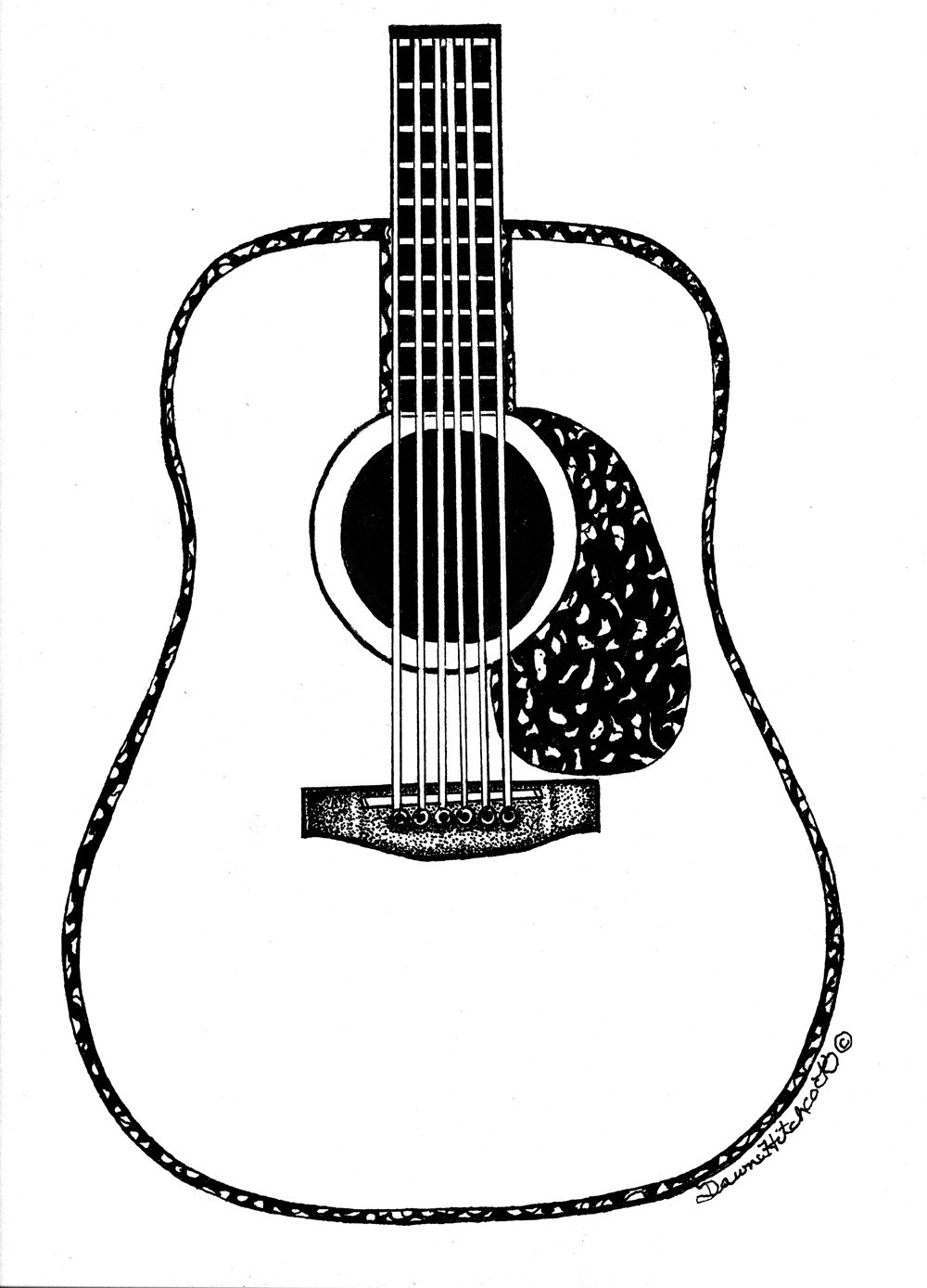 acoustic guitar outline